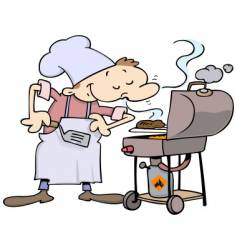 chef grilling burgers vector image vector image