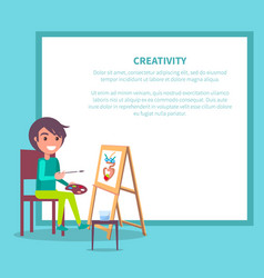creativity poster with girl drawing vase vector image