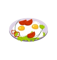 Fried eggs breakfast food element isolated icon vector