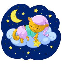 kitty sleeping cartoon of vector image