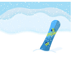 snowboard on landscape background vector image