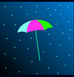 a colored umbrella on a blue background vector image vector image