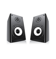 pair of black loud speakers isolated on white back vector image vector image