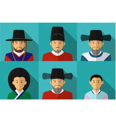 portrait of korean people in traditional costume vector image