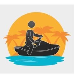 silhouette man jet ski beach background vector image vector image