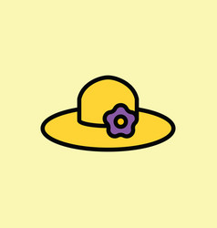 sun hat icon thin line on color background vector image vector image