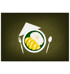 Thai Ripe Mango with Sticky Rice on Chalkboard vector image vector image