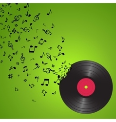 Abstract music background with notes and vinyl vector image vector image