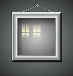 Blank picture frame with window reflection vector image vector image