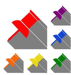 pin push sign set of red orange yellow green vector image