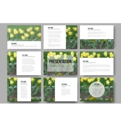 Set of 9 templates for presentation slides Yellow vector image