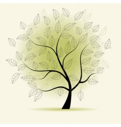 christmas tree on black background vector image