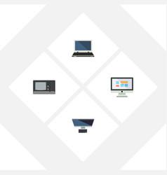 Flat icon computer set of display pc vintage vector
