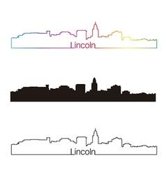 Lincoln skyline linear style with rainbow vector image