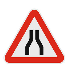narrowing of the road icon flat style vector image