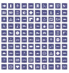100 location icons set grunge sapphire vector