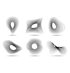 3d circular striped logo set distort shapes vector image