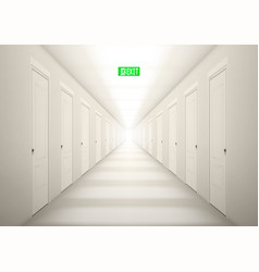 3d long light corridor with exit sign vector image