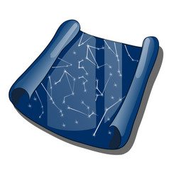 a scroll with a map of the constellations isolated vector image