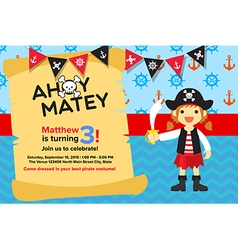 Ahoy Matey Pirate Girl Birthday Invitation Card vector