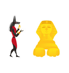 Anubis ancient egypt god and egyptian sphinx vector