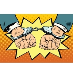 Arrest hands cuffed vector image
