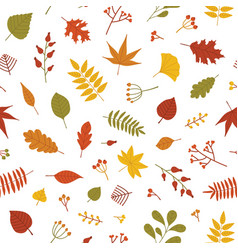 Autumn seamless pattern with fallen tree leaves vector