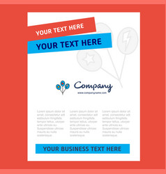 balloons title page design for company profile vector image