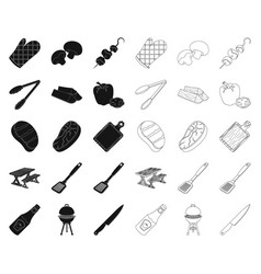 Barbecue and equipment blackoutline icons in set vector