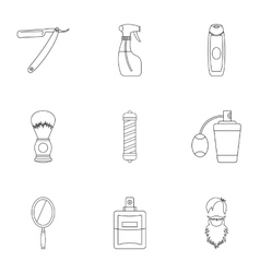 Barber icons set outline style vector