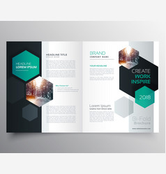 Bifold business brochure or magazine cover page vector