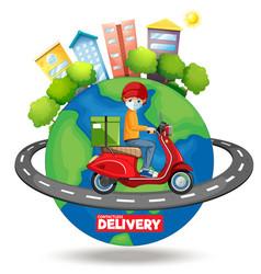 Bike man or courier riding around world vector