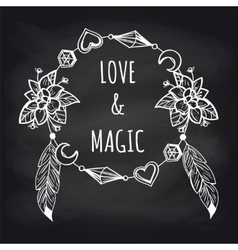 Boho chalkboard banner with wreath vector image