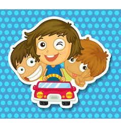 Boys and girl riding in car vector