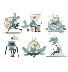 businessman working time management clock or vector image