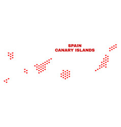 canary islands map - mosaic of love hearts vector image
