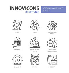 christmas symbols line design style icons vector image