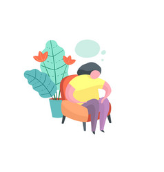 Chubwoman sitting at home thinking problem vector
