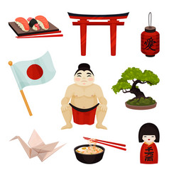 Collection japanese souvenirs and accessories vector