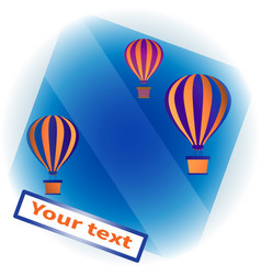 Colorful hot air balloons with baskets in blue sky vector