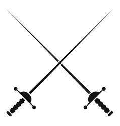 Crossed metal rapiers icon simple style vector