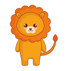 Cute and tender lion character vector