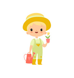 cute boy in overalls rubber boots and hat with vector image