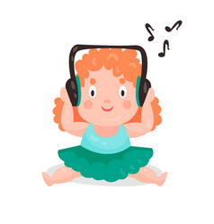 cute cartoon little girl sitting and listening vector image