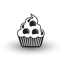 cute cup cake dessert icon black and white with vector image