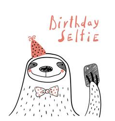 Cute sloth birthday card vector