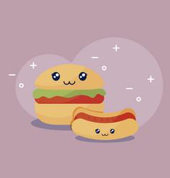 delicious hamburger with hot dog kawaii character vector image