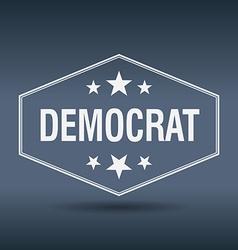 Democrat hexagonal white vintage retro style label vector