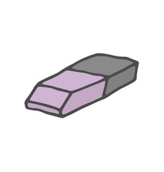 Doodle color eraser isolated vector