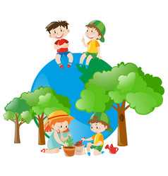Environmental theme with kids and tree vector